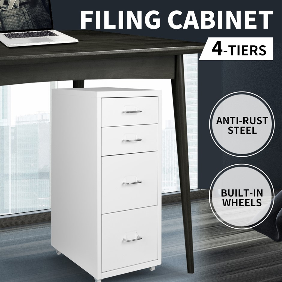 Metal File Cabinet Steel Orgainer With 4 Drawers Office Furniture White