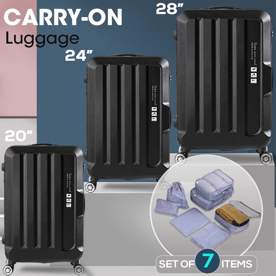 3pcs Luggage Sets Travel Hard Case Lightweight Suitcase TSA lock Black