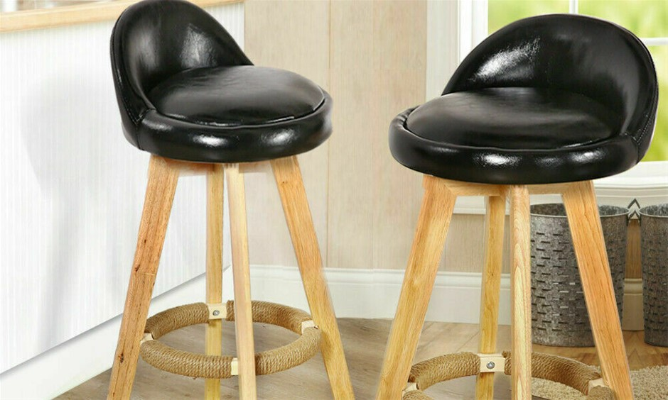 2x Levede Leather Swivel Bar Stool Kitchen Stool Dining Chair Barstools