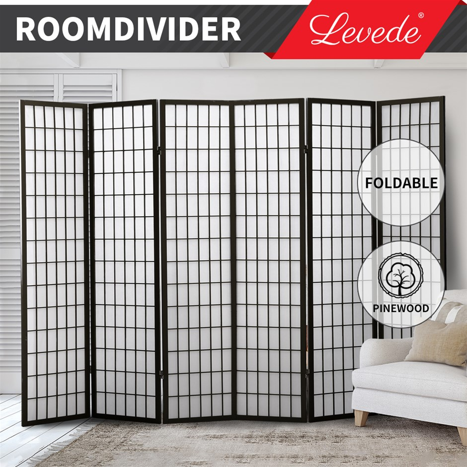 Levede Room Divider Screen 6 Panel Privacy Wooden Dividers Timber Stand