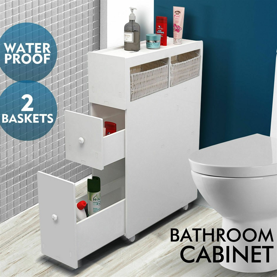 Levede Bathroom Toilet Cabinet Tissue Box Holder Drawer Basket Wheels