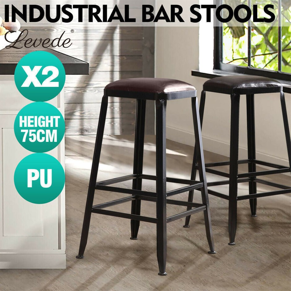 2x Levede Industrial Bar Stool Kitchen Stool Dining Chair Leather Seat