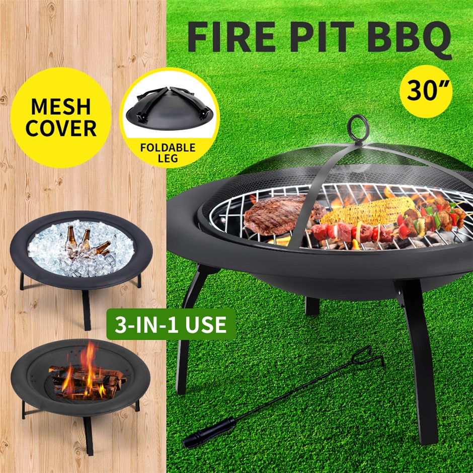 "30"" Portable Outdoor Fire Pit BBQ Grail Garden Patio Heater Fireplace"