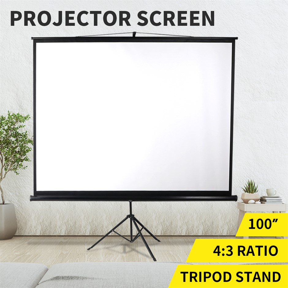 100 Inch Projector Screen Tripod Stand Pull Down Outdoor Screens Cinema 3D