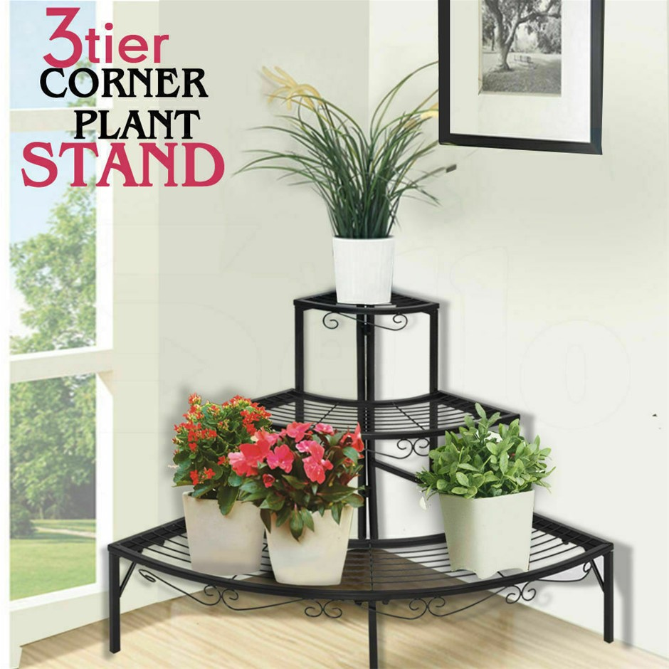 Levede Outdoor Indoor Pot Plant Stand Metal 3 Tier Planter Corner Shelf