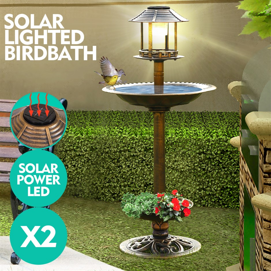 2x Ornamental Garden Decor Bird Bath Feeding Station Solar Light