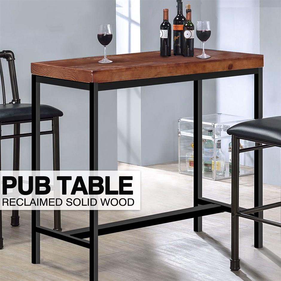 Levede Industrial Wood Bar Table Kitchen Cafe Office Desk Steel Legs