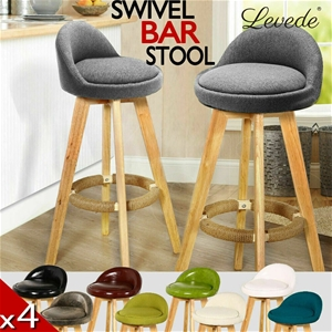 4x Levede Leather Swivel Bar Stool Kitch