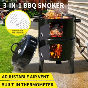 3in1 Charcoal BBQ Grill Smoker Portable