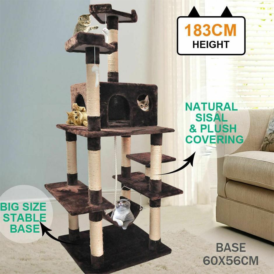 183cm Cat Scratching Post Tree Gym House Condo Furniture Scratcher Pole