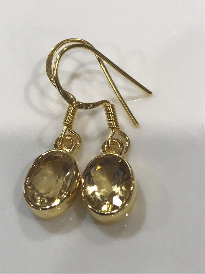Stunning Genuine 2.50ct Citrine & 18K Y/ Gold Vermeil Earrings