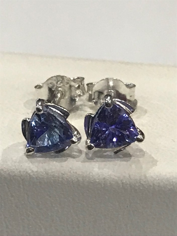 Glorious 1.00ct Tanzanite & 18K W/Gold Vermeil Stud Earrings
