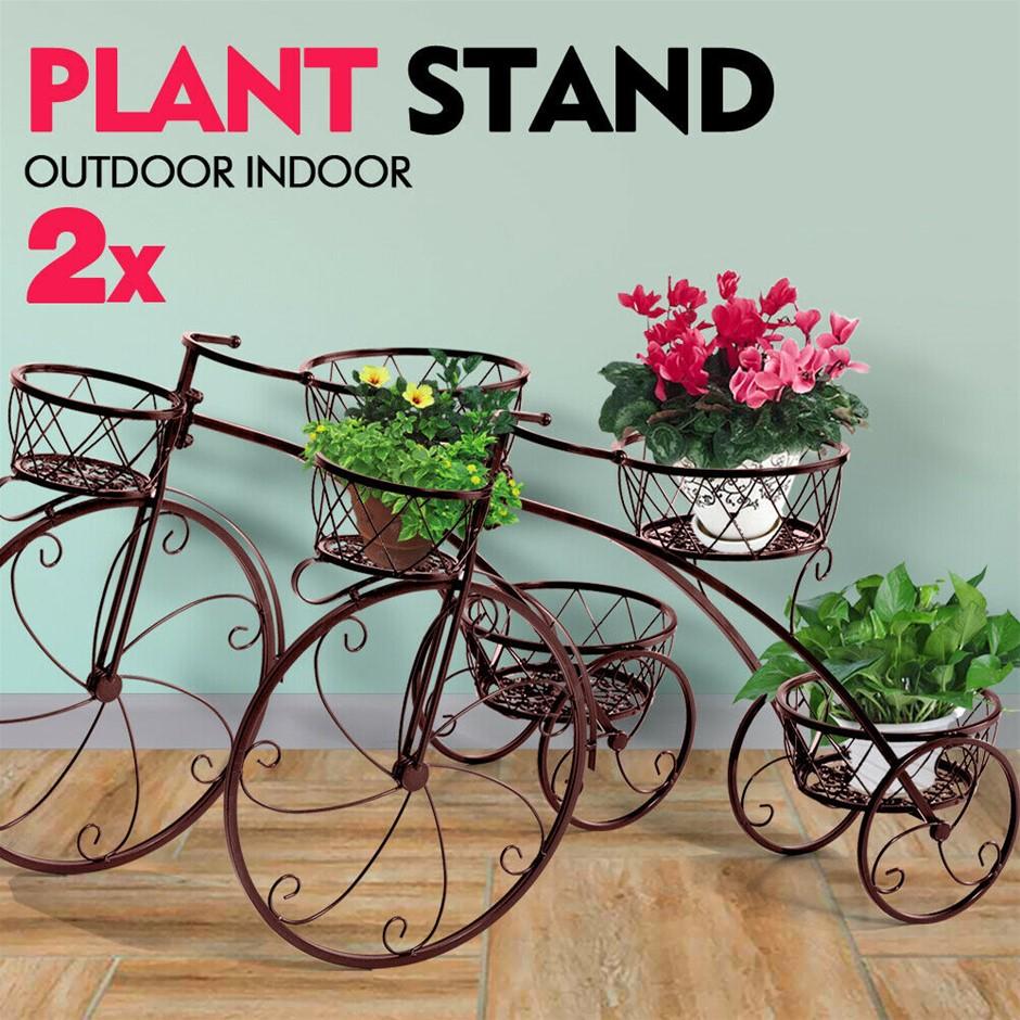 2x Levede Plant Stand Outdoor Indoor Metal Pot Garden Flower Rack Shelf