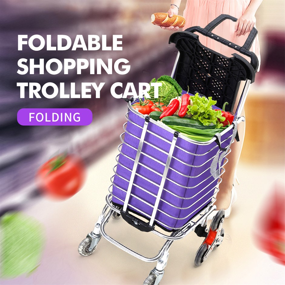 Foldable Shopping Cart Trolley Stainless Steel Basket Luggage Portable