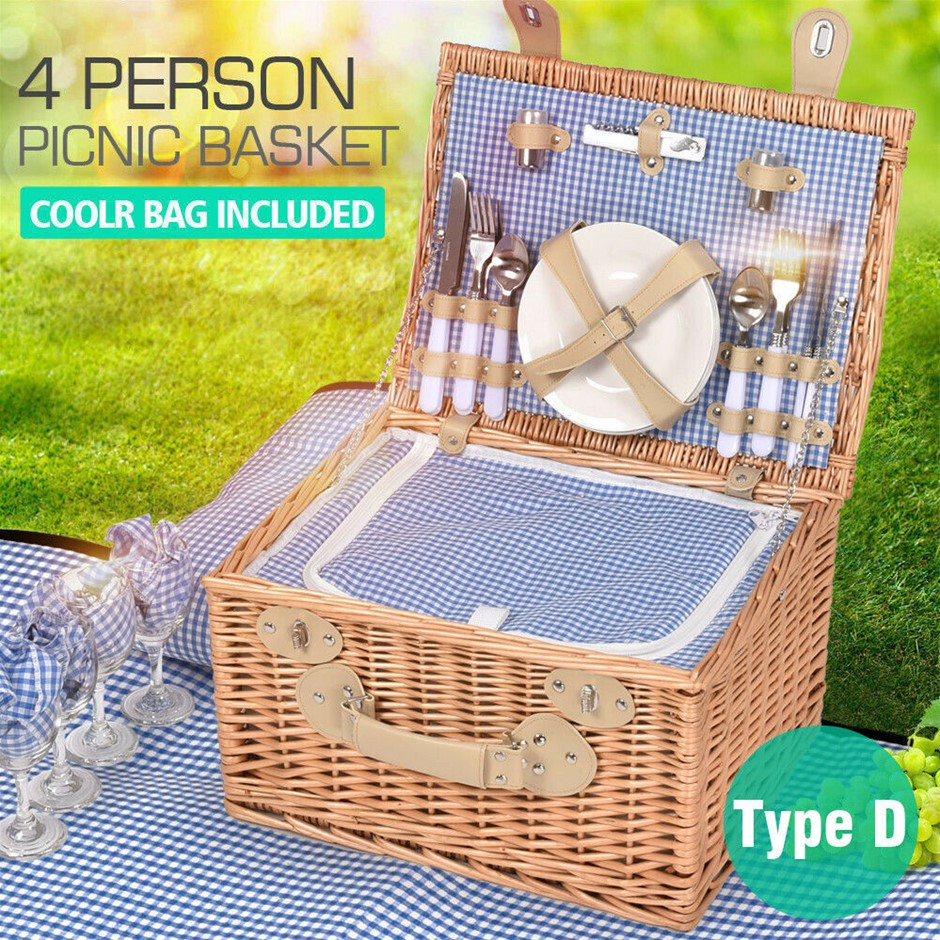 Deluxe 4 Person Picnic Basket Set Outdoor Corporate Blanket Park Trip