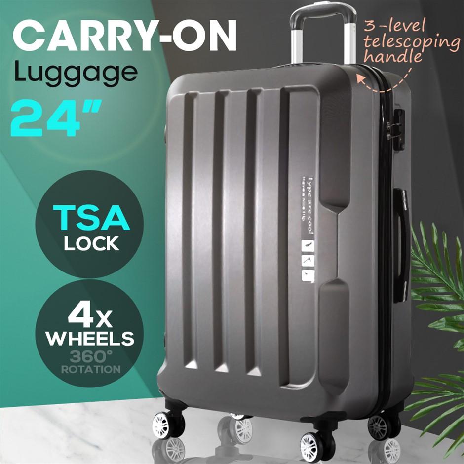 "24"" Check In Luggage Hard side Lightweight Travel Cabin Suitcase TSA Lock"