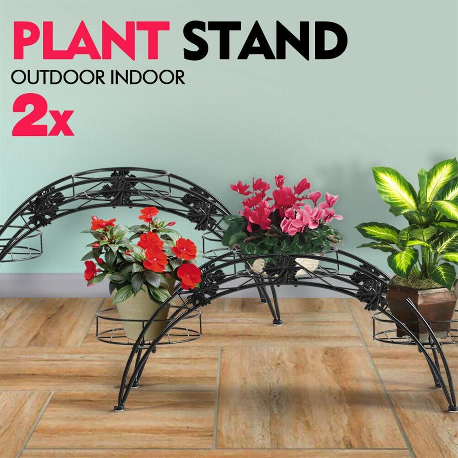 2X Plant Stand Outdoor Indoor Metal Flower Pot Shelf Garden Corner Shelves