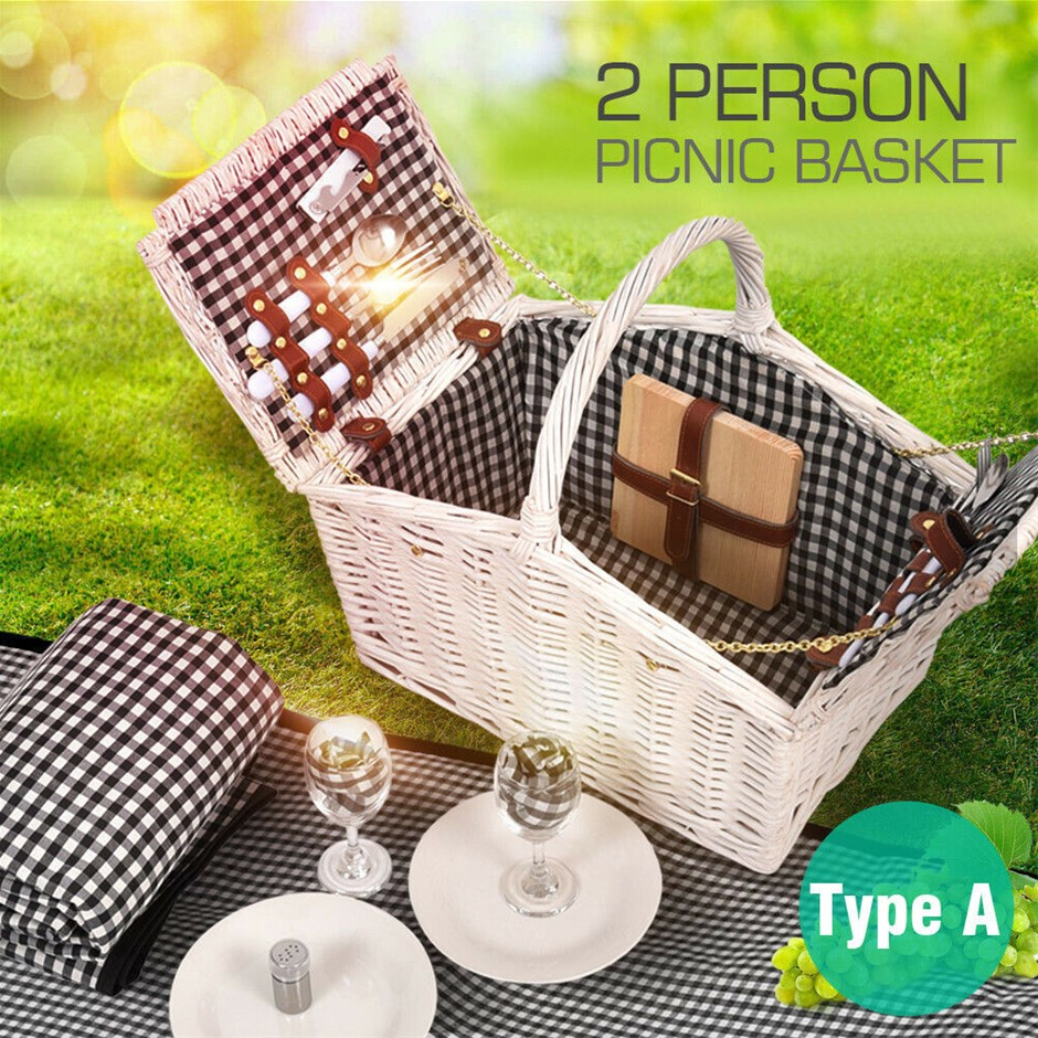 2 Person Picnic Basket Baskets Set Outdoor Blanket Deluxe Wicker Storage