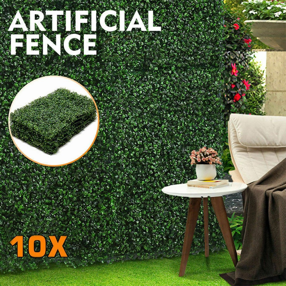 10x Artificial Boxwood Hedge Fake Vertical Garden Green Wall Mat Fence