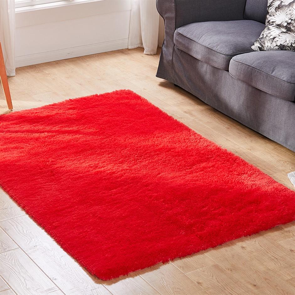 Designer Soft Shag Shaggy Floor Confetti Rug Home Decor 300x200cm Red