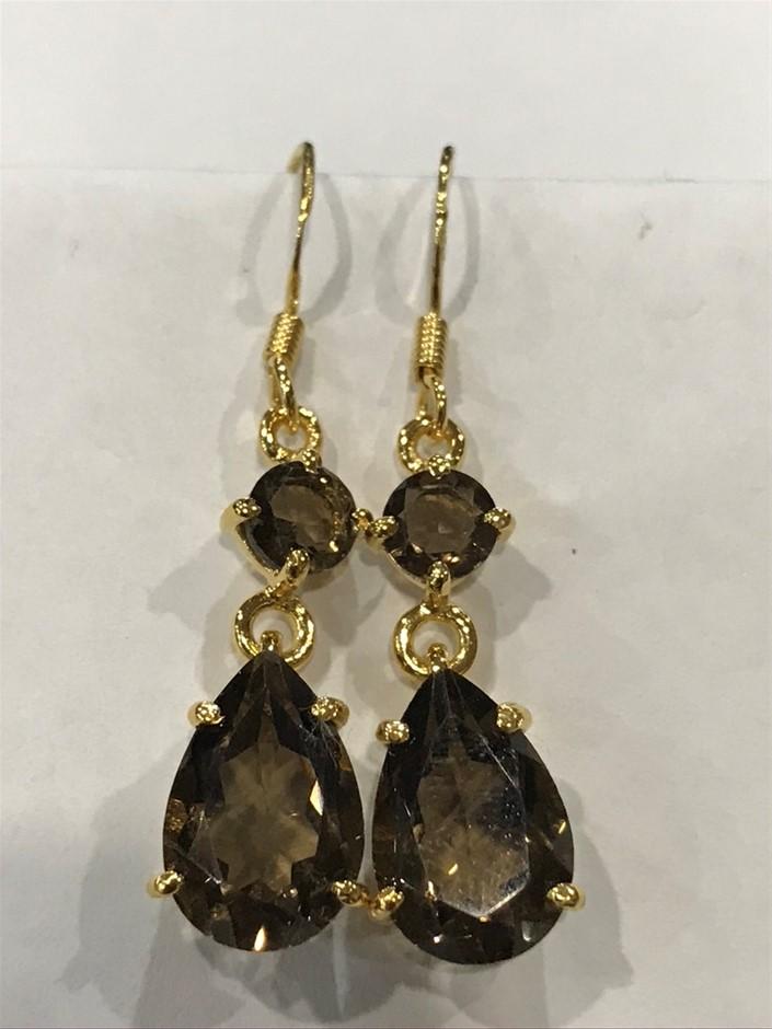 Eye Catching 8.40ct Smokey Quartz & 18K Gold Vermeil Drop Earrings