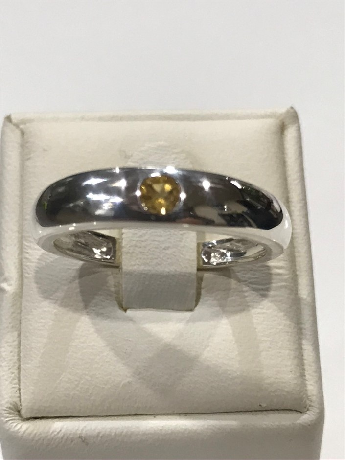 Solid Citrine set Band Ring Size P (7.75)