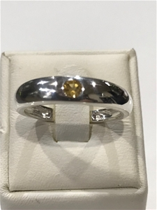 Solid Citrine set Band Ring Size P (7.75