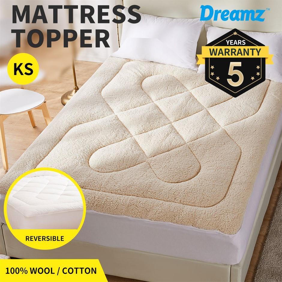 Dreamz Mattress Topper Wool Underlay Reversible Mat Protector King Single
