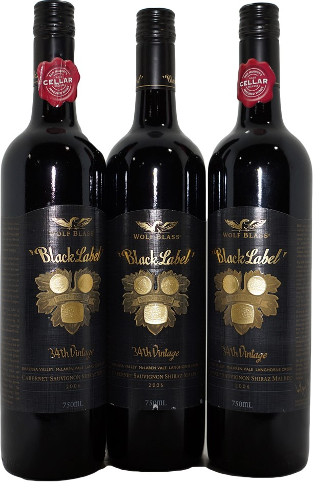 Wolf Blass Black Label Cabernet Shiraz Malbec 2006 (3x 750mL) SA . Screwcap