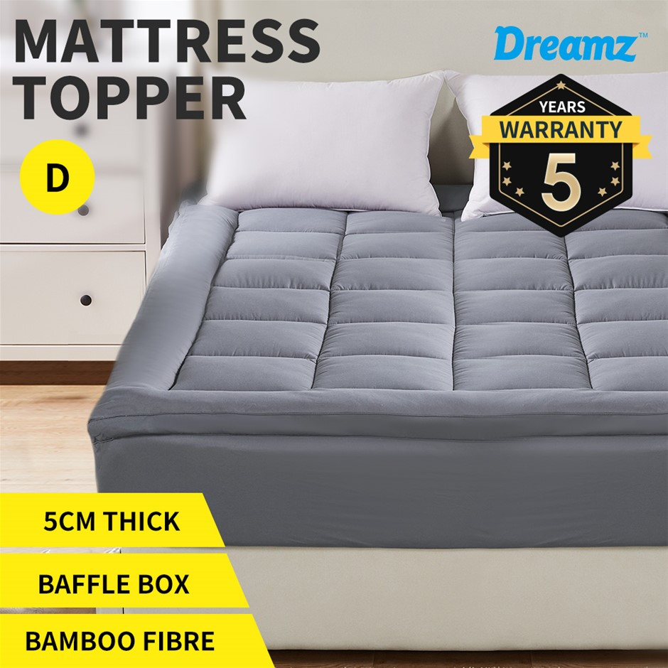 Dreamz Mattress Topper Bamboo Luxury Pillowtop Mat Protector Cover Double