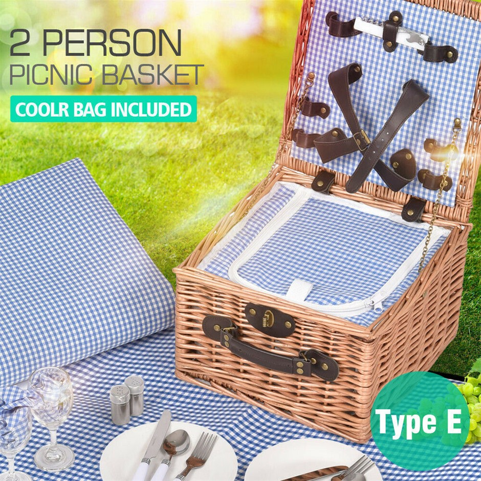 2 Person Picnic Basket Wicker Baskets Set Insulated Outdoor Blanket Storage