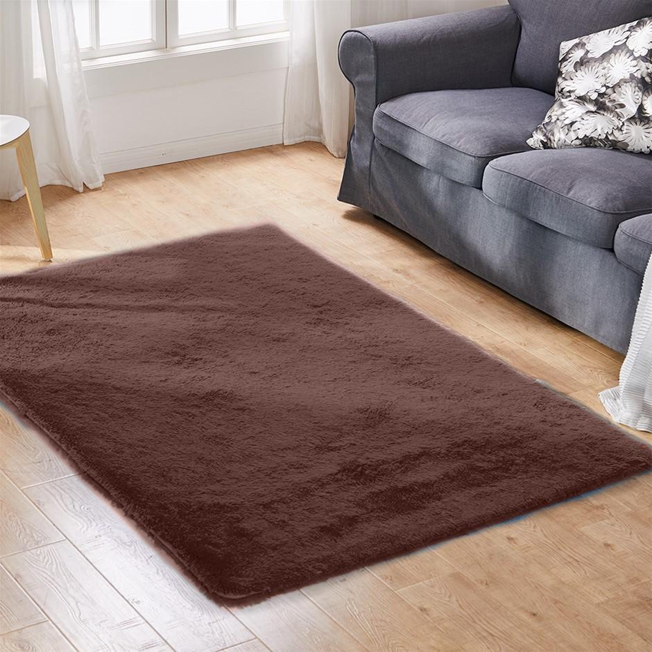 Designer Soft Shag Shaggy Floor Rug Confetti Carpet 230x200cm Coffee