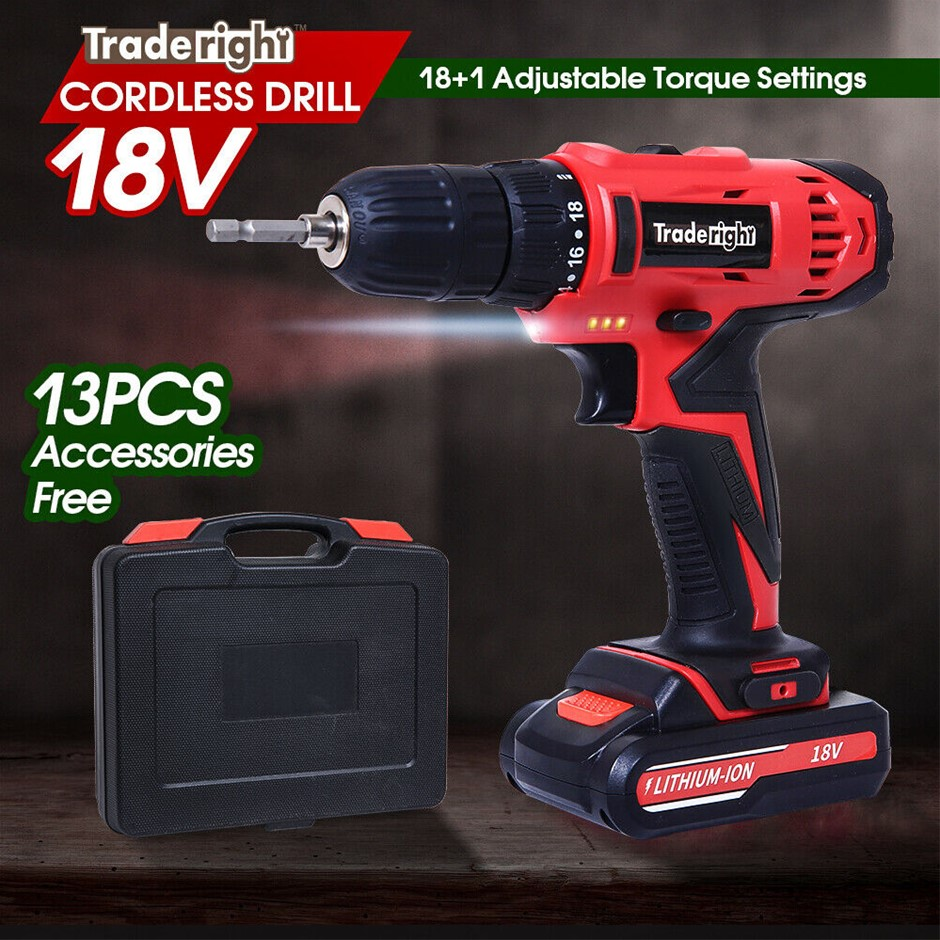 Traderight 18V Cordless Drill Driver Power Tool Kit Flap Bits Set Screw