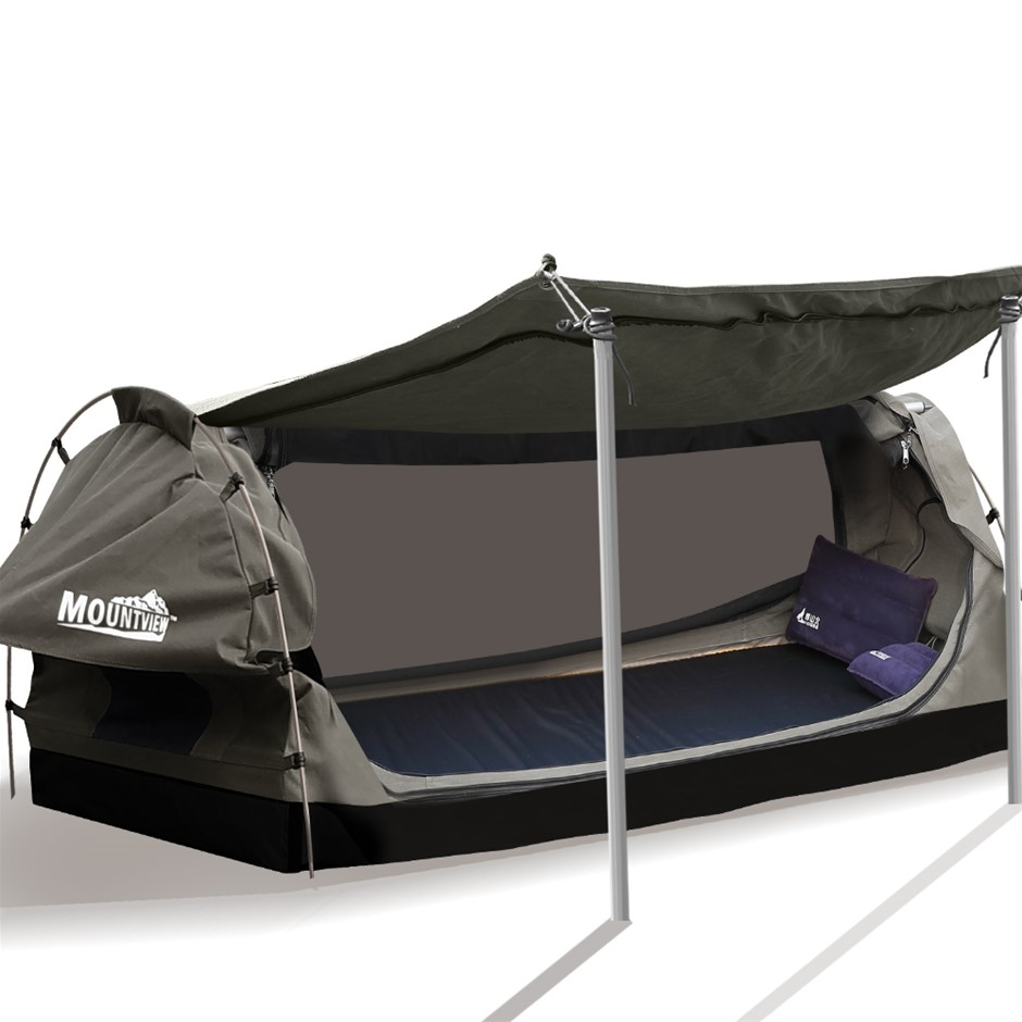 Mountview King Single Swag Swags Canvas Dome Tent Free Standing Purple