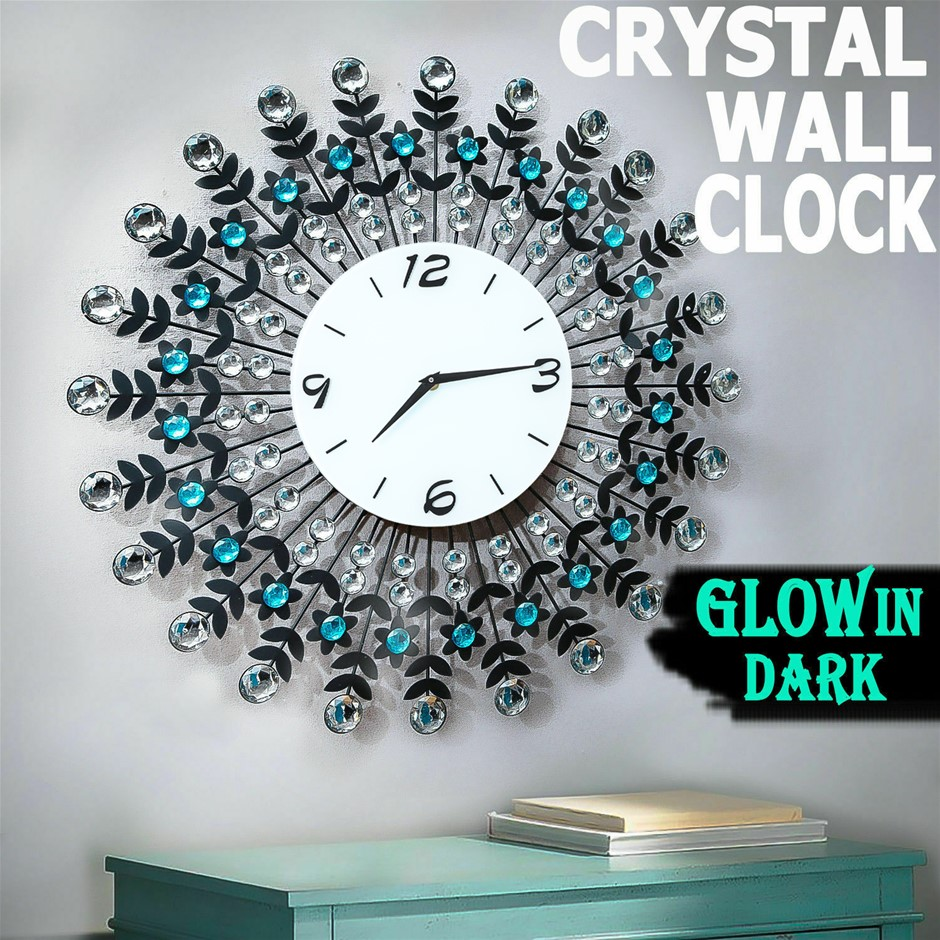 Large Modern 3D Crystal Wall Clock Luxury Black Glass Round Dial Home