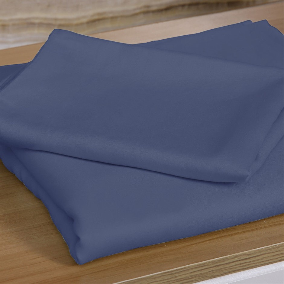 DreamZ 4 Pcs Natural Bamboo Cotton Bed Sheet Set in Size Queen Bluish Grey