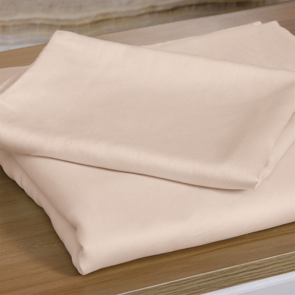 DreamZ 4 Pcs Natural Bamboo Cotton Bed Sheet Set in Size Double Ivory
