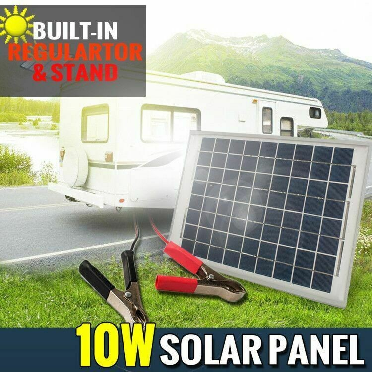 12V 10W Solar Panel Kit MONO Caravan Regulator RV Camping Power Charging