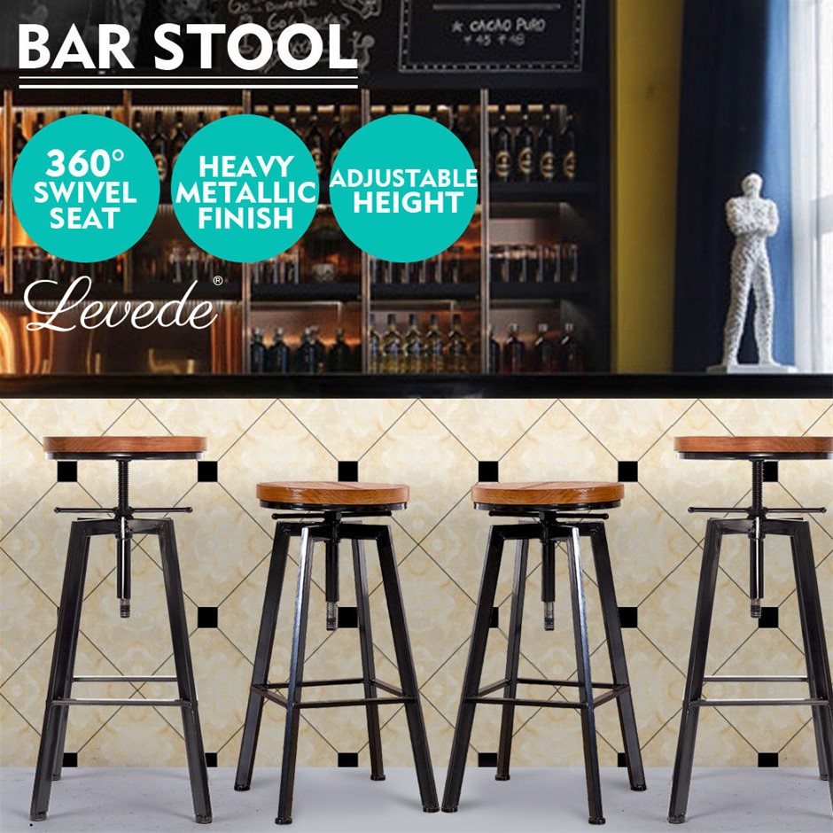 4x Levede Industrial Bar Stools Kitchen Stool Wooden s Swivel Vintage