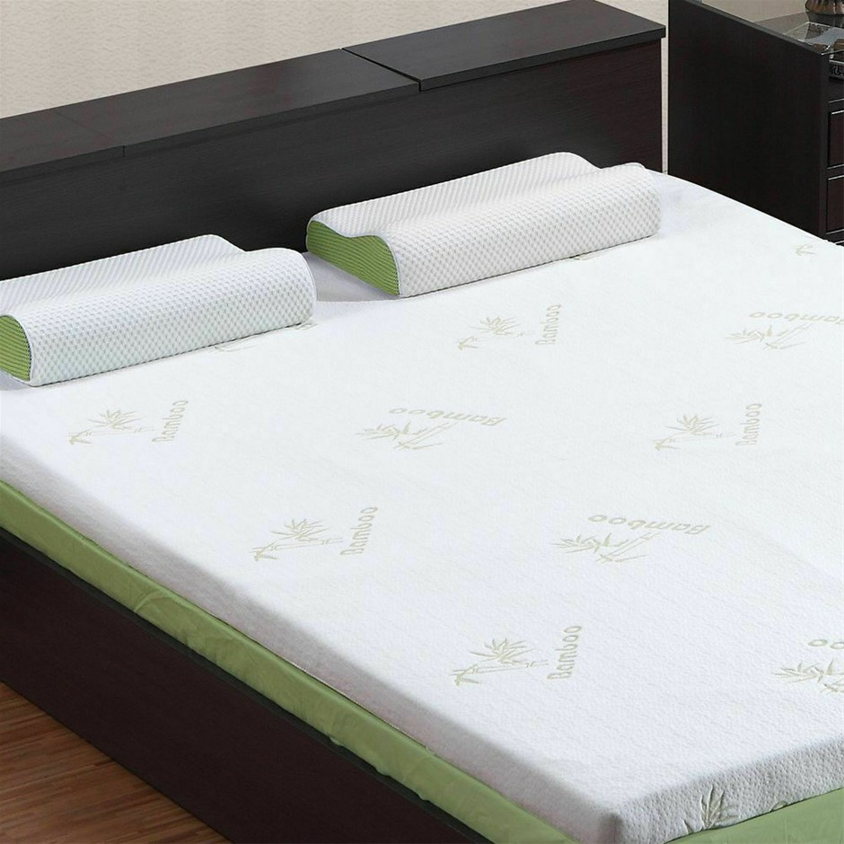 DreamZ 8cm Thickness Cool Gel Memory Foam Mattress Topper Bamboo King