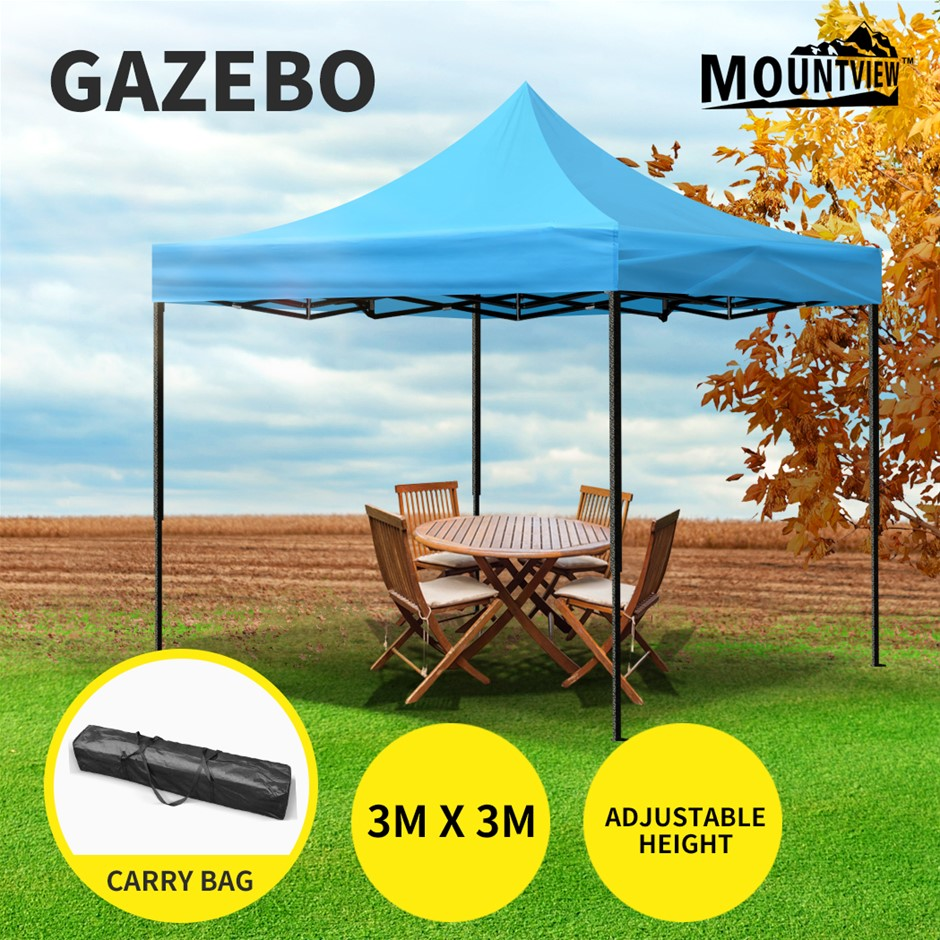 Mountview Gazebo Tent 3x3 Outdoor Marquee Gazebos Camping Canopy Blue