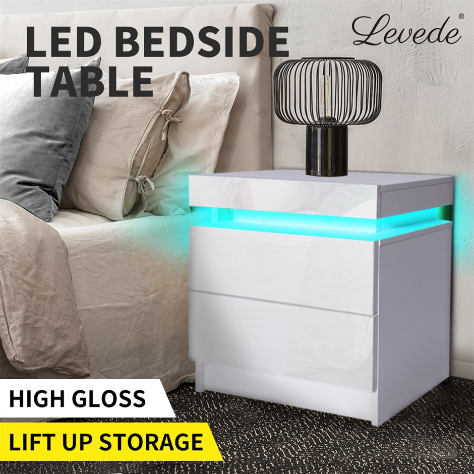 Levede Bedside Tables Drawers RGB LED Cabinet High Gloss Nightstand
