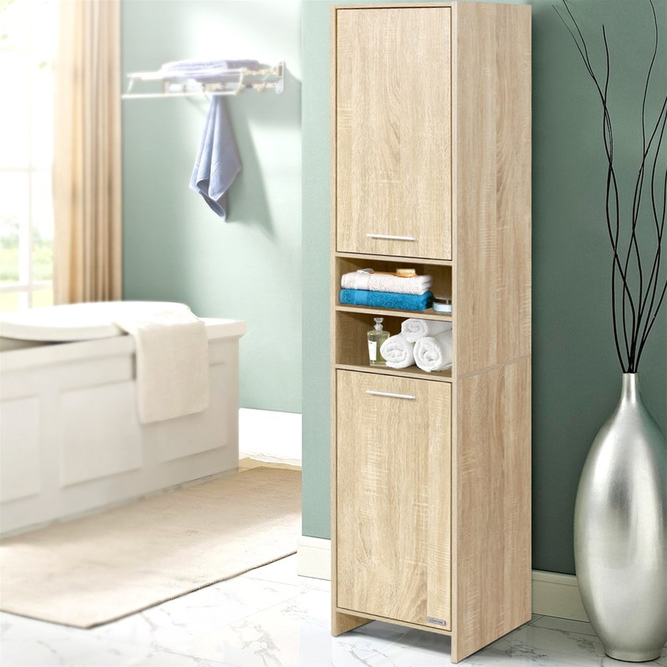 Artiss 185cm Bathroom Cabinet Tallboy Furniture Toilet Storage Cupboard Oak