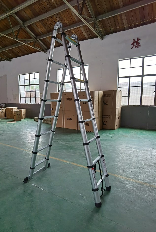 2.5m 8 Steps Aluminium Alloy Double Sided Ladder Extendable Step With Lock