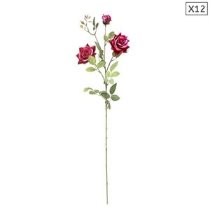 SOGA 12pcs Artificial Silk Flower Fake R