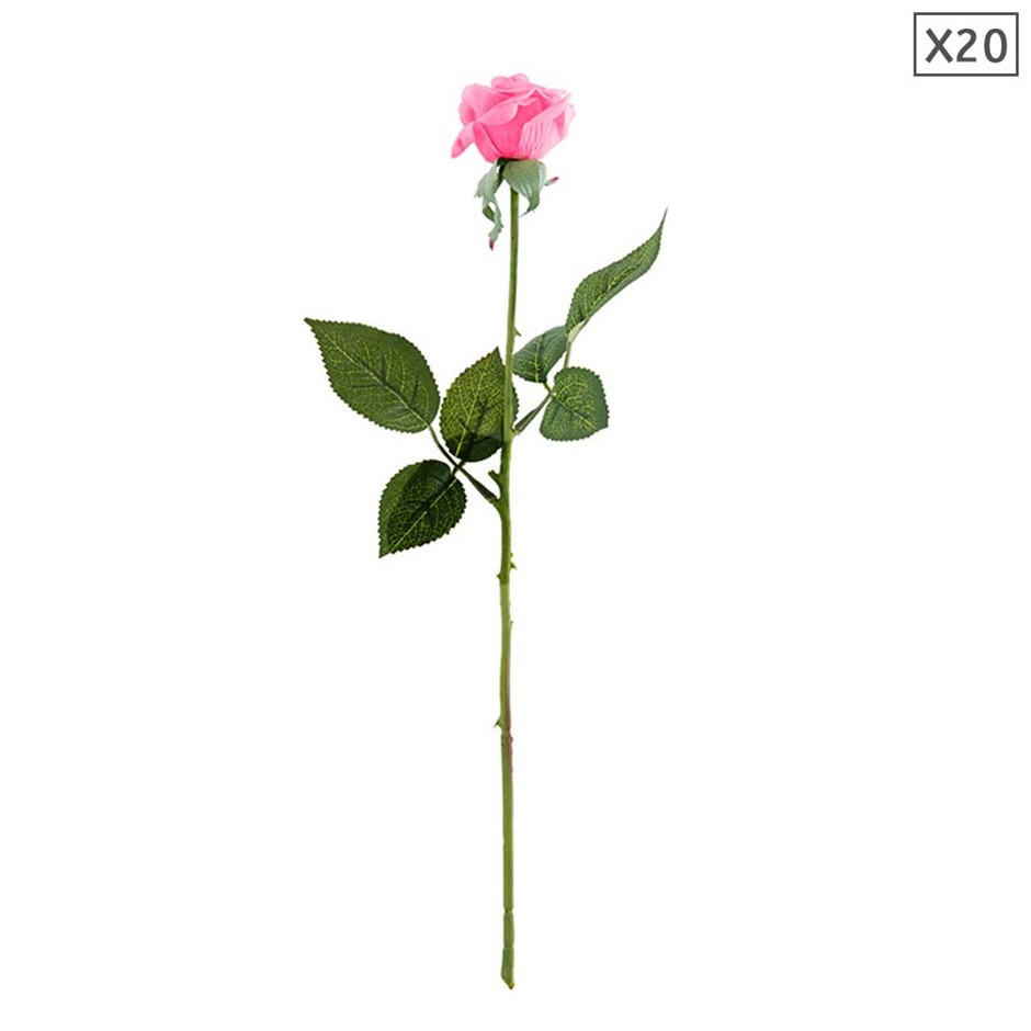 SOGA 20pcs Artificial Silk Flower Fake Rose Bouquet Table Decor Pink