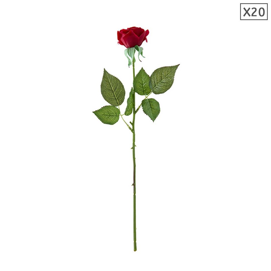 SOGA 20pcs Artificial Silk Flower Fake Rose Bouquet Table Decor Red