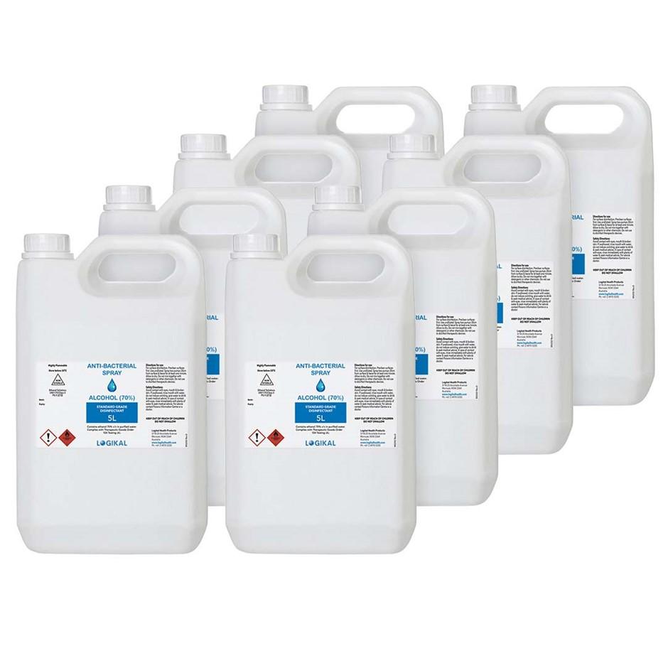 8X 5L Standard Grade Disinfectant Anti-Bacterial Alcohol