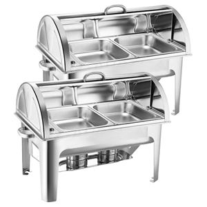 SOGA 2X Stainless Steel Roll Top Chafing