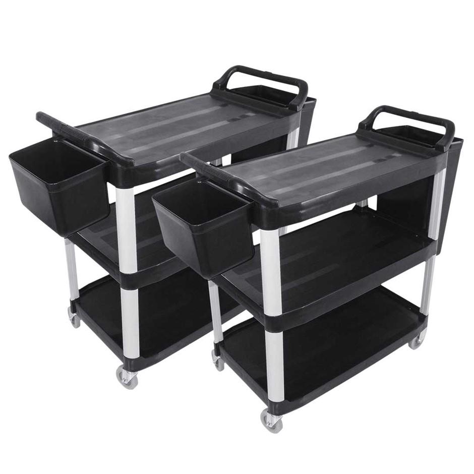 SOGA 2x 3 Tier 83x43x95cm Food Trolley Food Waste Cart w/ 2 Bins Storage